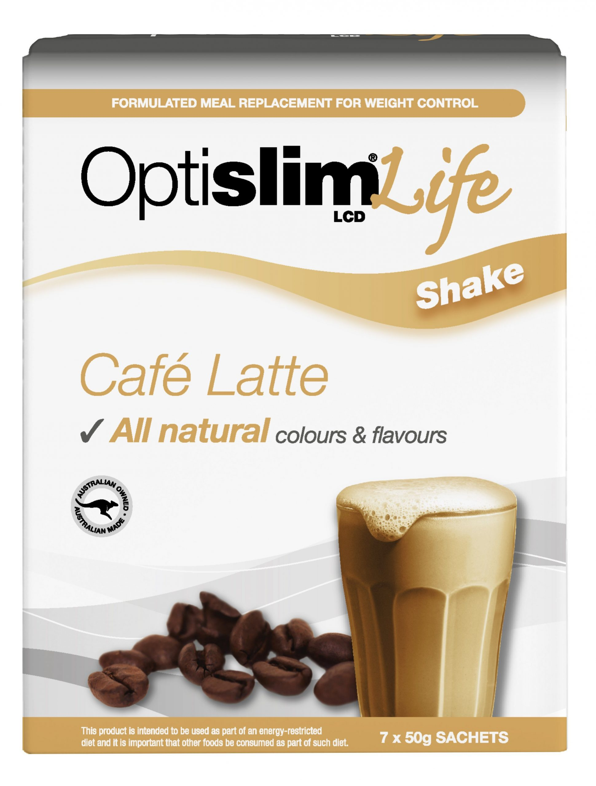 Optislim Life Shake LCD Cafe Latte (7x50g) Weight Loss OptiSlim