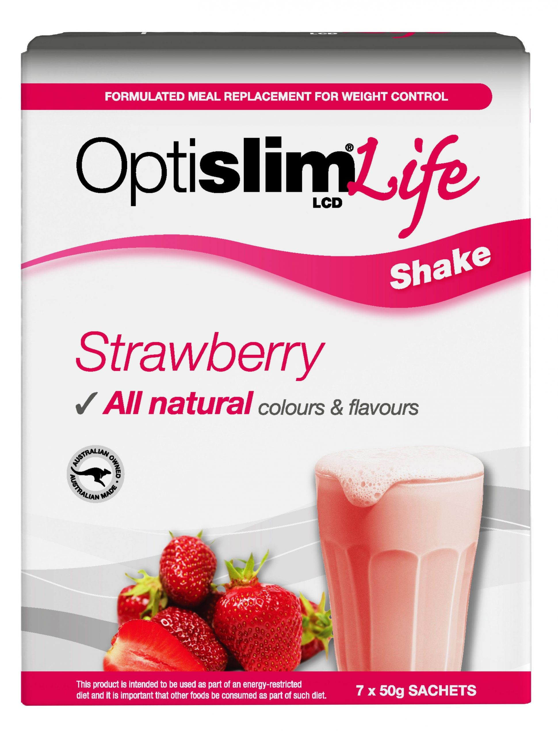 Optislim Life Shake LCD Strawberry (7x50g) Weight Loss OptiSlim